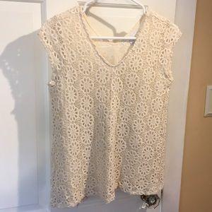 Cap sleeve top; knit/crochet overlay